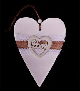 Drewniane Serce z Napisem Love 17/12cm